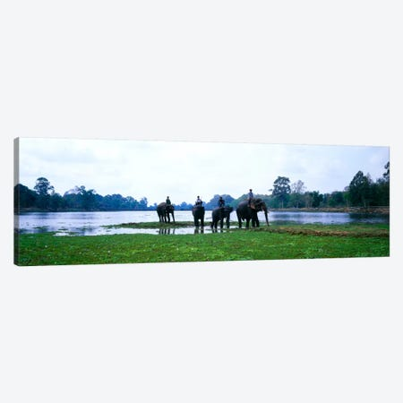 Siem Reap River & Elephants Angkor Vat Cambodia Canvas Print #PIM963} by Panoramic Images Canvas Print