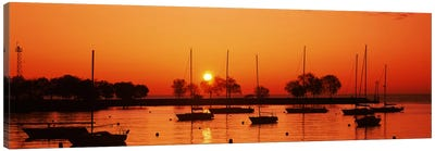 Silhouette of boats in a lake, Lake Michigan, Great Lakes, Michigan, USA Canvas Print #PIM9647