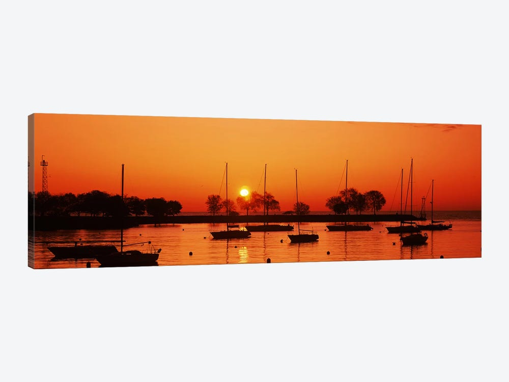 Silhouette of boats in a lake, Lake Michigan, Great Lakes, Michigan, USA by Panoramic Images 1-piece Canvas Art