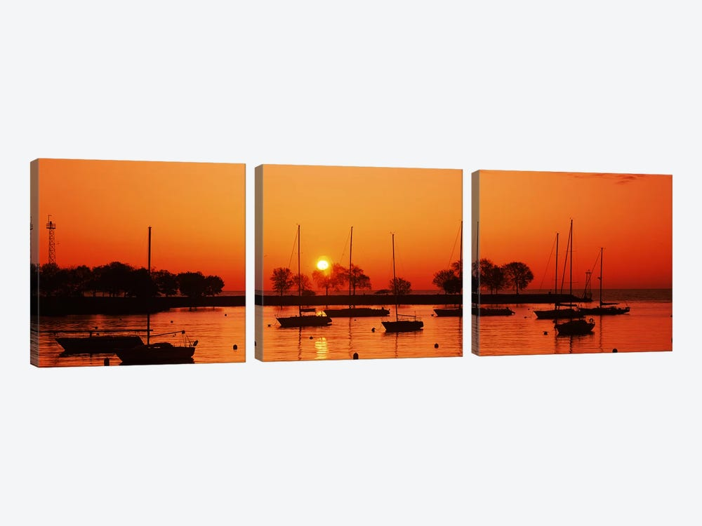 Silhouette of boats in a lake, Lake Michigan, Great Lakes, Michigan, USA by Panoramic Images 3-piece Canvas Art