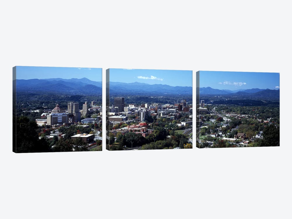 Aerial View Of Downtown, Asheville, Buncombe County, North Carolina, USA by Panoramic Images 3-piece Canvas Artwork