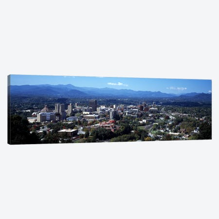 Aerial View Of Downtown, Asheville, Buncombe County, North Carolina, USA 3-Piece Canvas #PIM9652} by Panoramic Images Art Print