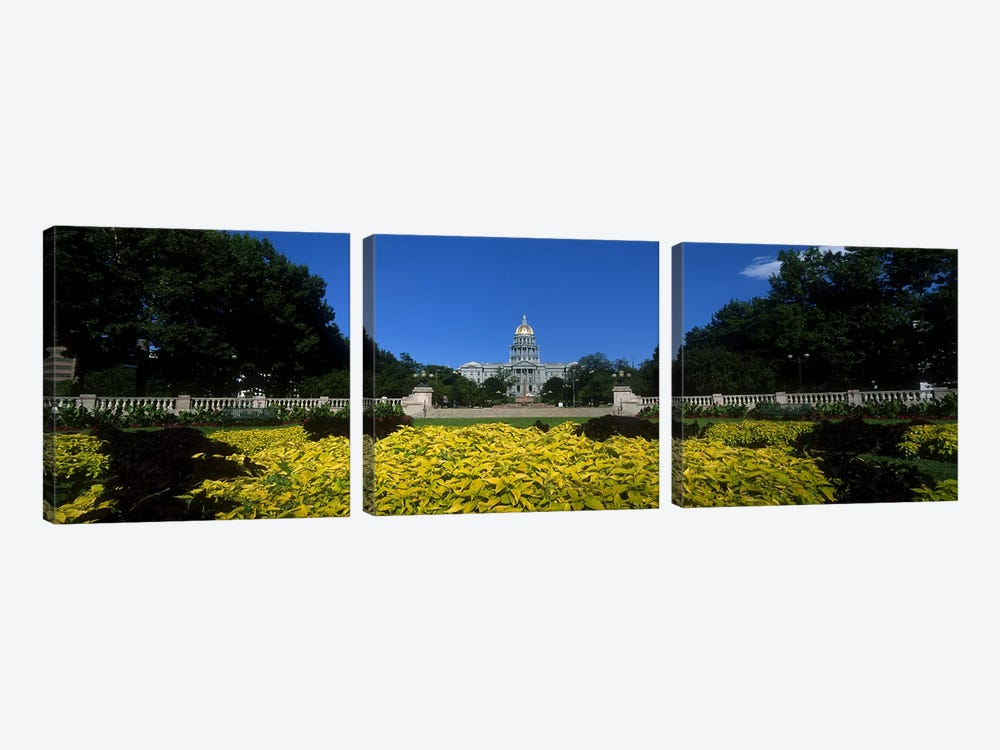 Garden in front of a State Capitol Building, Civic Park Gardens, Denver, Colorado, USA by Panoramic Images 3-piece Canvas Art