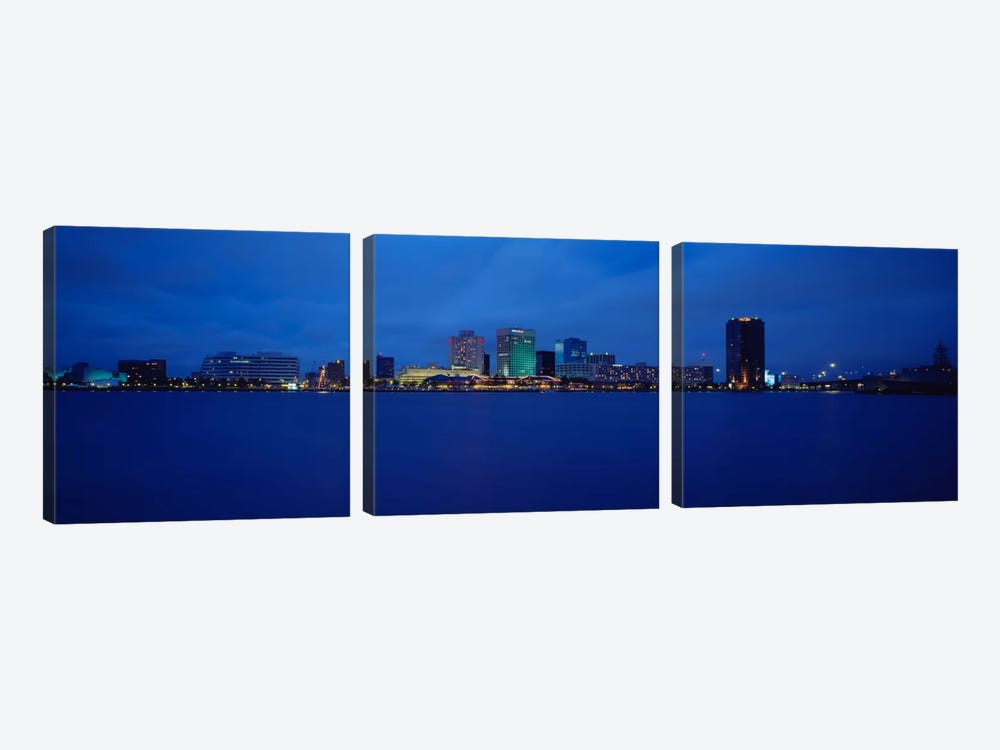 Buildings at the waterfront, Norfolk, Virginia, USA by Panoramic Images 3-piece Canvas Art