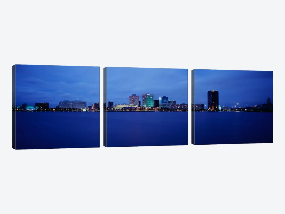 Buildings on the waterfront, Norfolk, Virginia, USA by Panoramic Images 3-piece Art Print