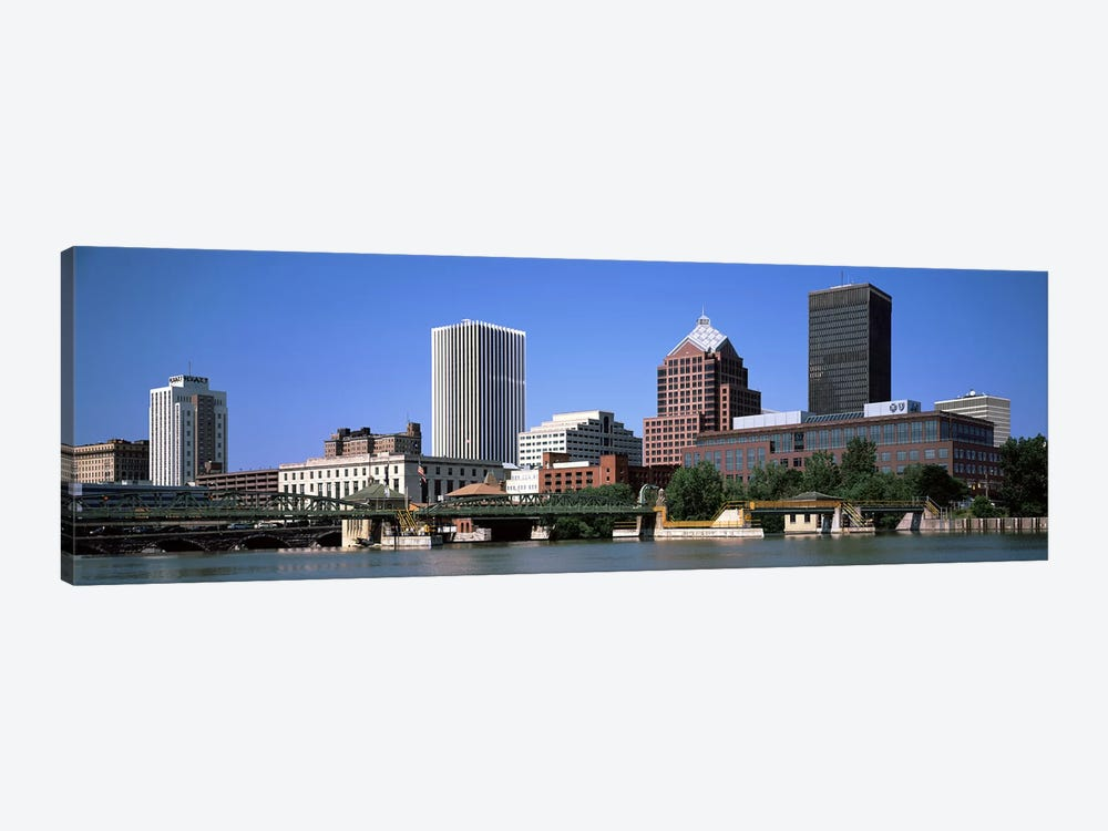 Buildings at the waterfront, Genesee River, Rochester, Monroe County, New York State, USA 2011 by Panoramic Images 1-piece Canvas Print