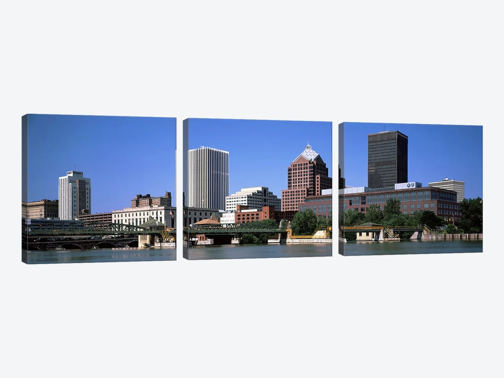 Buildings at the waterfront, Genesee River, Rochester, Monroe County, New York State, USA 2011 by Panoramic Images 3-piece Art Print