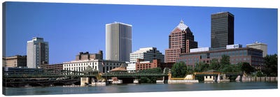 Buildings at the waterfront, Genesee River, Rochester, Monroe County, New York State, USA 2011 Canvas Art Print
