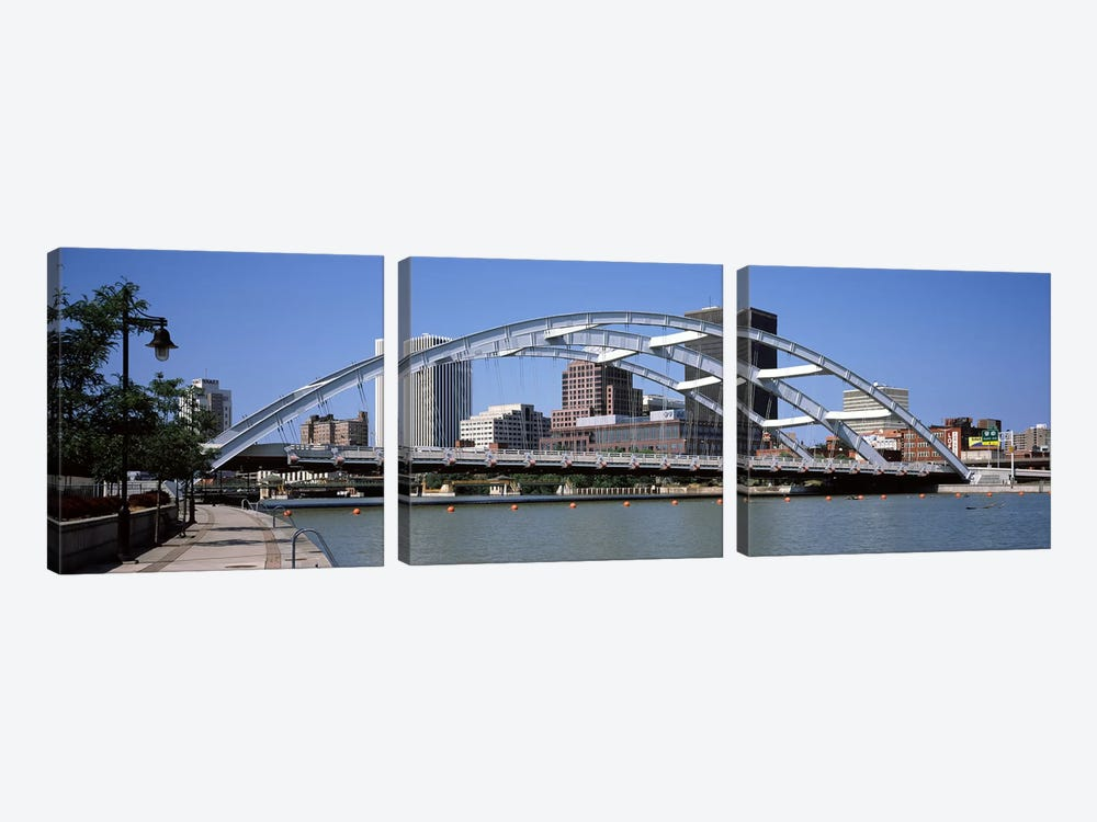 Frederick Douglas-Susan B. Anthony Memorial Bridge across the Genesee RiverRochester, Monroe County, New York State, USA by Panoramic Images 3-piece Canvas Wall Art