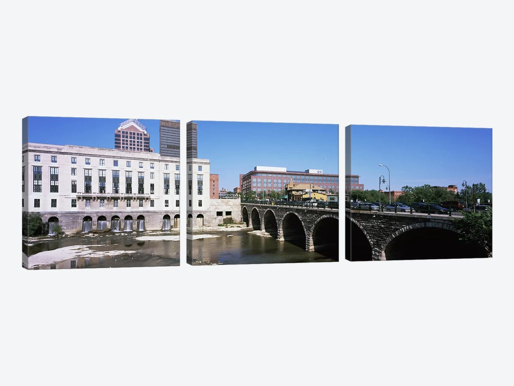 Arch bridge across the Genesee River, Rochester, Monroe County, New York State, USA by Panoramic Images 3-piece Canvas Print