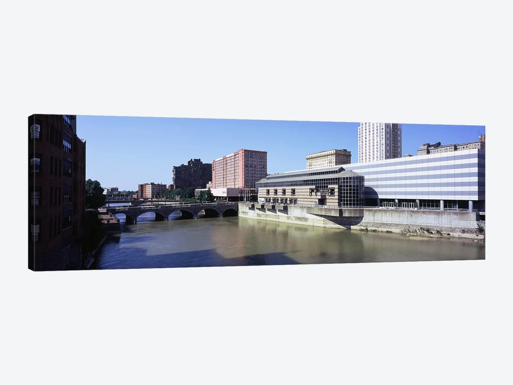 Buildings at the waterfront, Genesee River, Rochester, Monroe County, New York State, USA by Panoramic Images 1-piece Canvas Artwork