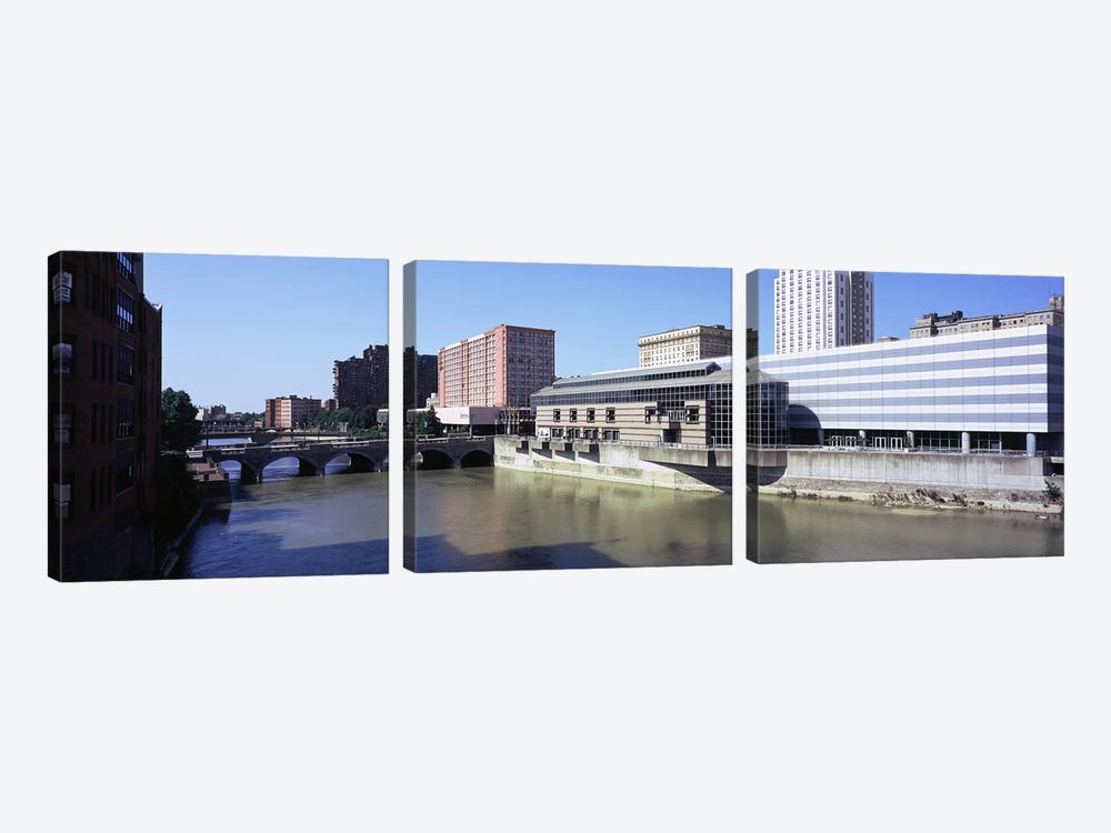 Buildings at the waterfront, Genesee River, Rochester, Monroe County, New York State, USA by Panoramic Images 3-piece Canvas Wall Art