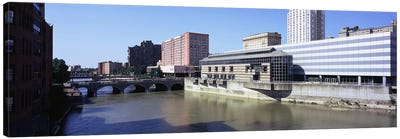 Buildings at the waterfront, Genesee River, Rochester, Monroe County, New York State, USA Canvas Art Print