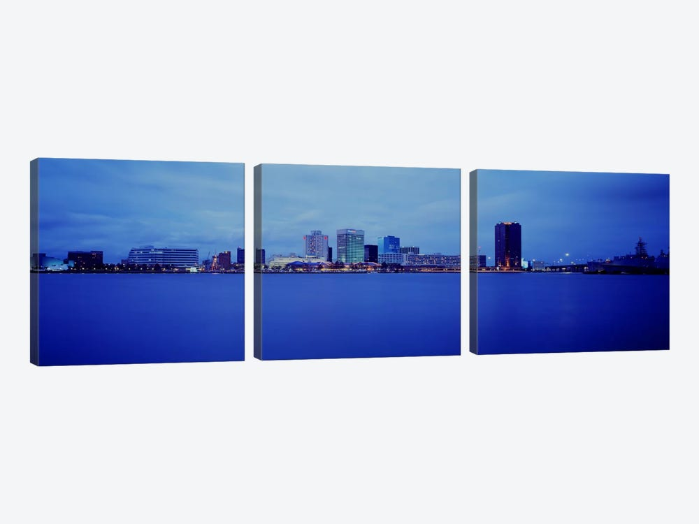 Buildings at the waterfront, Norfolk, Virginia, USA by Panoramic Images 3-piece Canvas Print