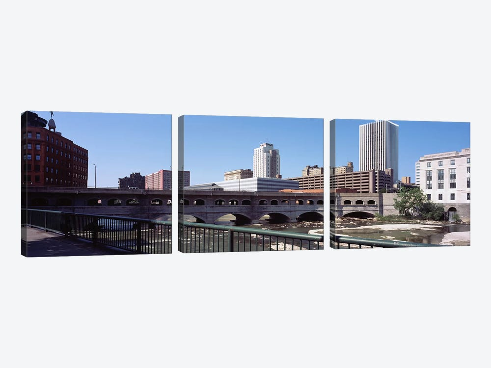 Bridge across the Genesee RiverRochester, Monroe County, New York State, USA by Panoramic Images 3-piece Canvas Art Print