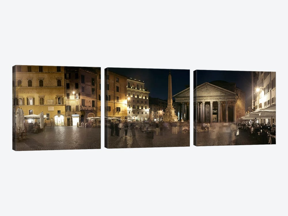 Blurred Motion View Of Pedestrians In Piazza della Rotonda, Rome, Lazio, Italy by Panoramic Images 3-piece Art Print