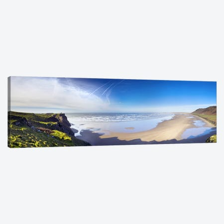 Coastal Landscape Featuring Llangennith Sands & Rhossili Bay, Gower Peninsula, Wales Canvas Print #PIM9717} by Panoramic Images Art Print
