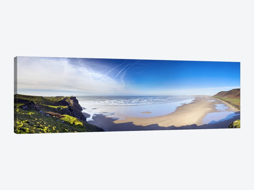 Coastal Landscape Featuring Llangennith Sands & Rhossili Bay, Gower Peninsula, Wales by Panoramic Images 1-piece Canvas Art