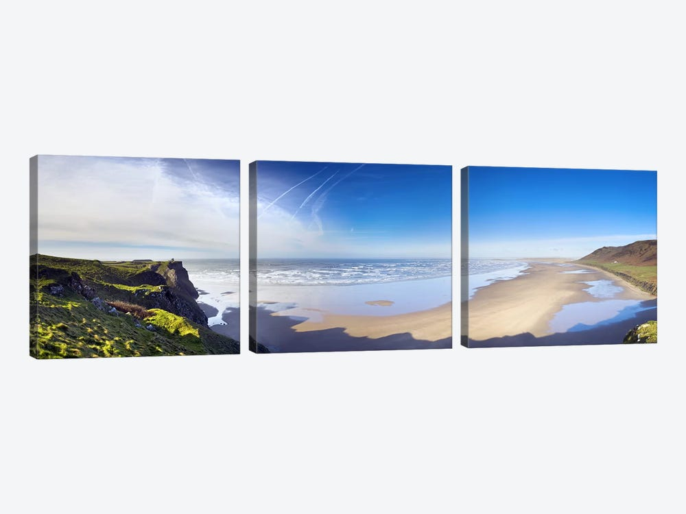 Coastal Landscape Featuring Llangennith Sands & Rhossili Bay, Gower Peninsula, Wales by Panoramic Images 3-piece Canvas Wall Art