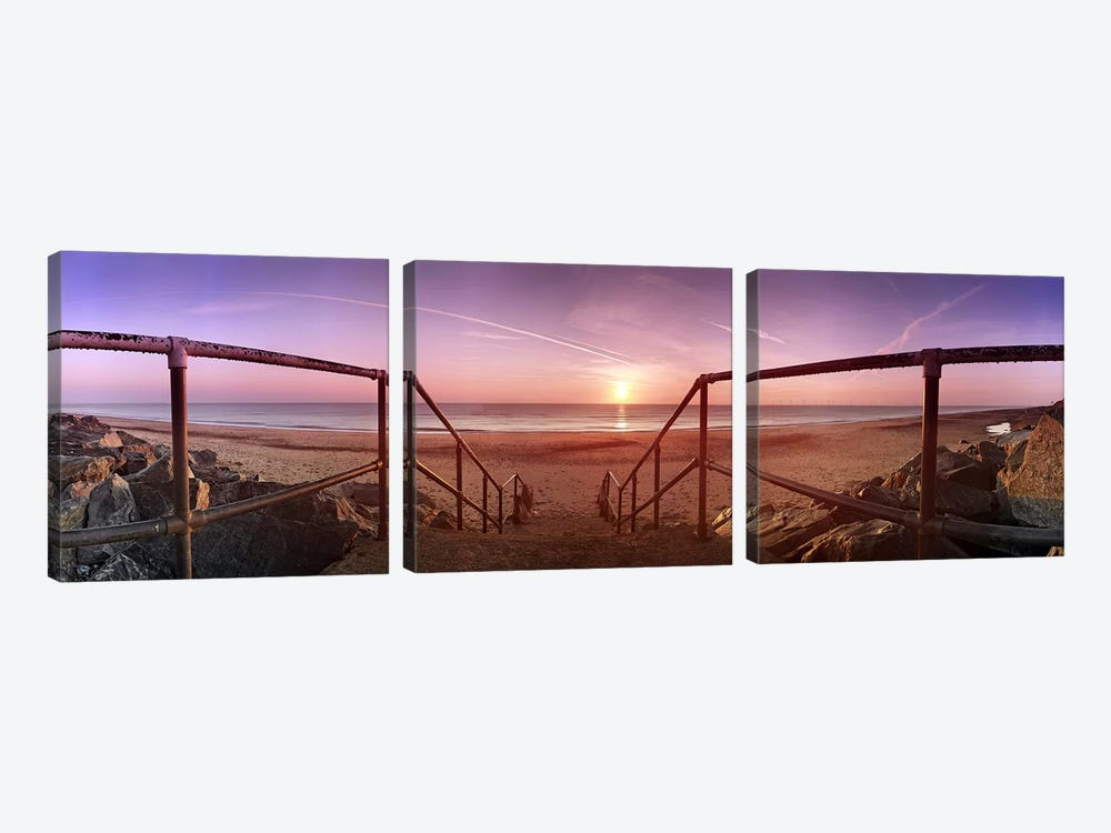 Staircase leading towards a beachCalifornia, Norfolk, England by Panoramic Images 3-piece Canvas Art