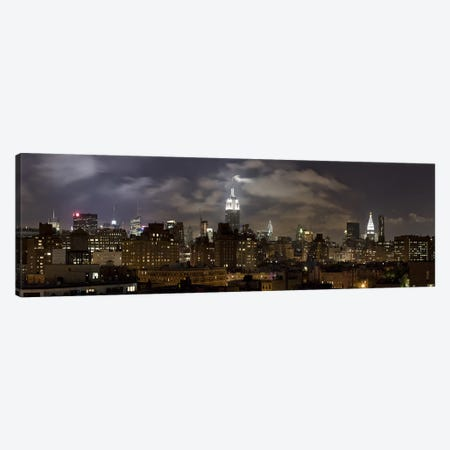Buildings lit up at night, Empire State Building, Manhattan, New York City, New York State, USA 2009 Canvas Print #PIM9724} by Panoramic Images Canvas Art