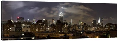 Buildings lit up at night, Empire State Building, Manhattan, New York City, New York State, USA 2009 Canvas Art Print