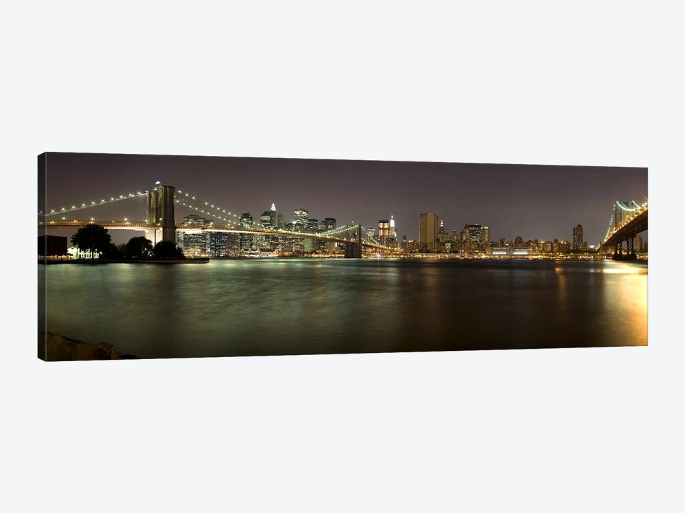 Brooklyn Bridge and Manhattan Bridge across East River at night, Manhattan, New York City, New York State, USA by Panoramic Images 1-piece Canvas Print