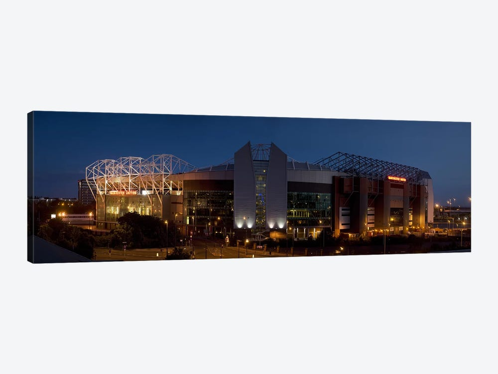 Football stadium lit up at night, Old Trafford, Greater Manchester, England by Panoramic Images 1-piece Art Print