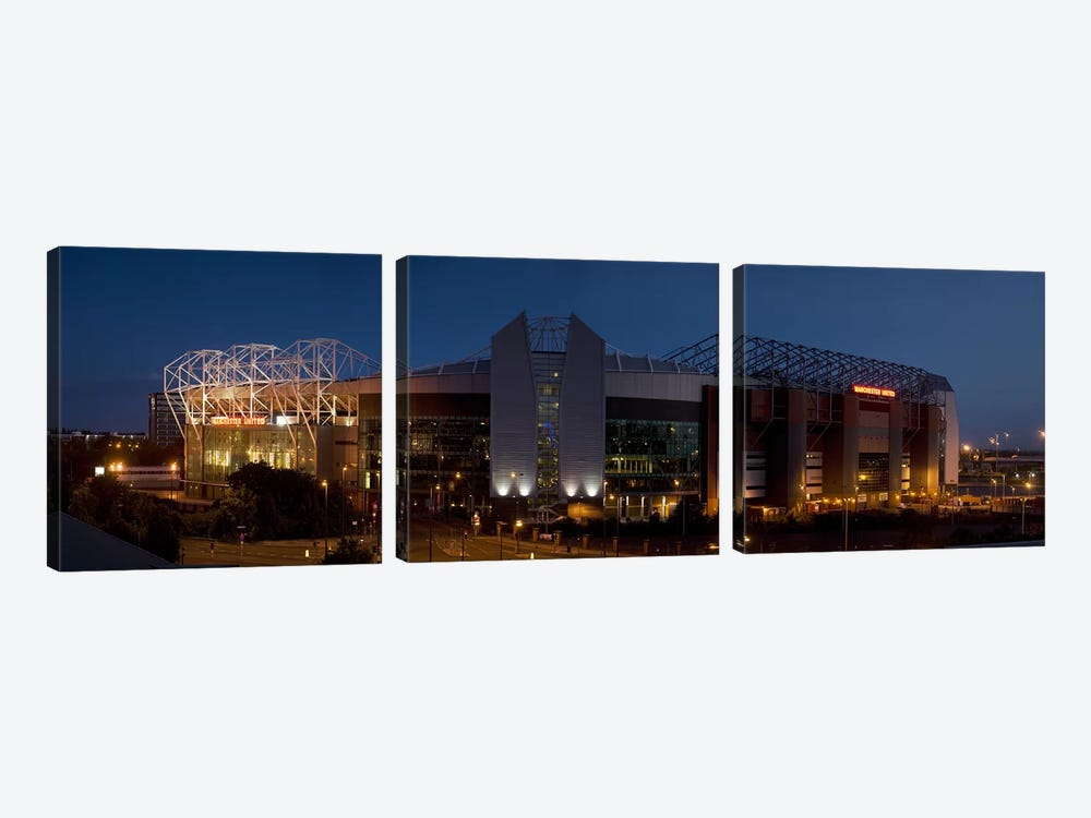 Football stadium lit up at night, Old Trafford, Greater Manchester, England by Panoramic Images 3-piece Art Print