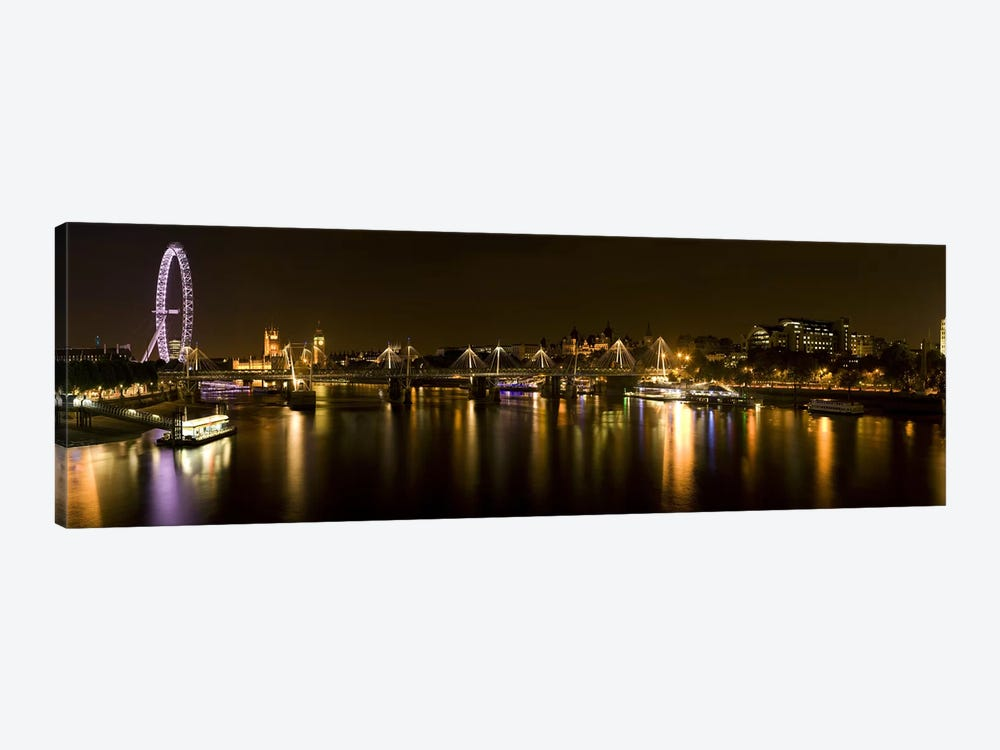 Nighttime View Down The Thames From Waterloo Bridge, London, England by Panoramic Images 1-piece Canvas Art Print