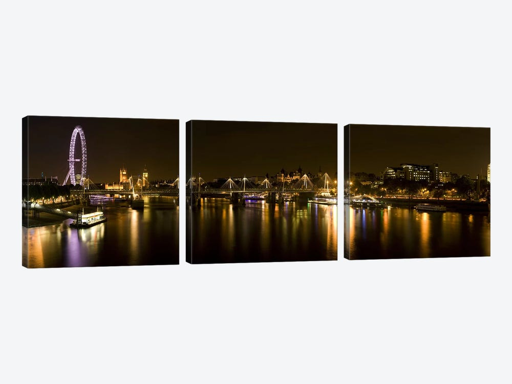Nighttime View Down The Thames From Waterloo Bridge, London, England by Panoramic Images 3-piece Canvas Print