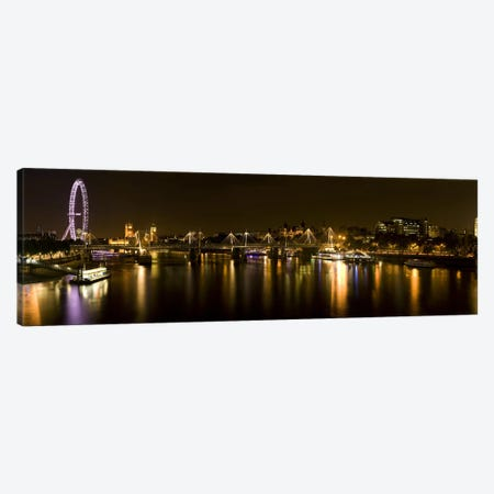 Nighttime View Down The Thames From Waterloo Bridge, London, England Canvas Print #PIM9736} by Panoramic Images Canvas Art Print