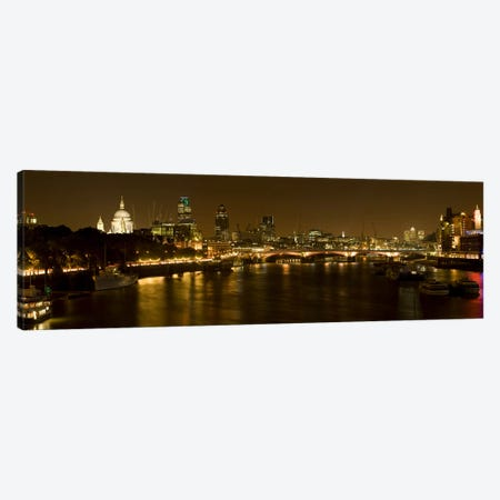 Nighttime View Of The City Of London From Waterloo Bridge, London, England Canvas Print #PIM9737} by Panoramic Images Art Print