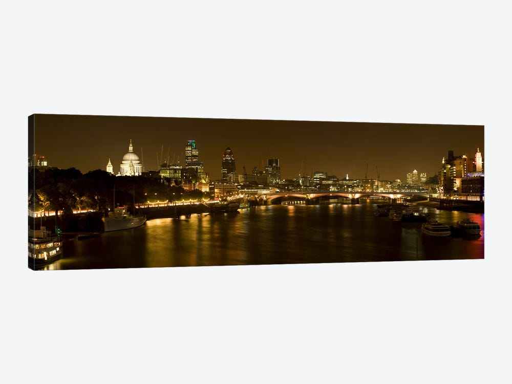 Nighttime View Of The City Of London From Waterloo Bridge, London, England by Panoramic Images 1-piece Canvas Artwork