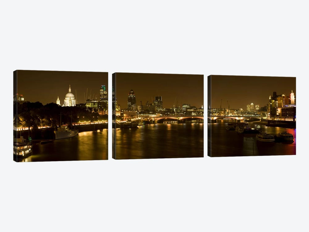 Nighttime View Of The City Of London From Waterloo Bridge, London, England 3-piece Canvas Artwork