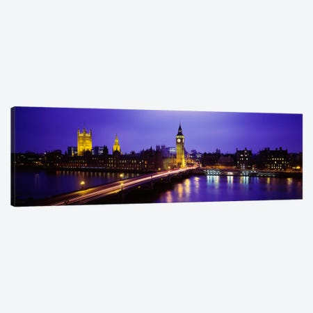 Palace Of Westminster & Westminster Bridge At Night, City Of Westminster,  London, England, United Kingdom Canvas Print #PIM973} by Panoramic Images Canvas Wall Art