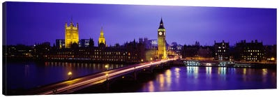 Palace Of Westminster & Westminster Bridge At Night, City Of Westminster,  London, England, United Kingdom Canvas Print #PIM973
