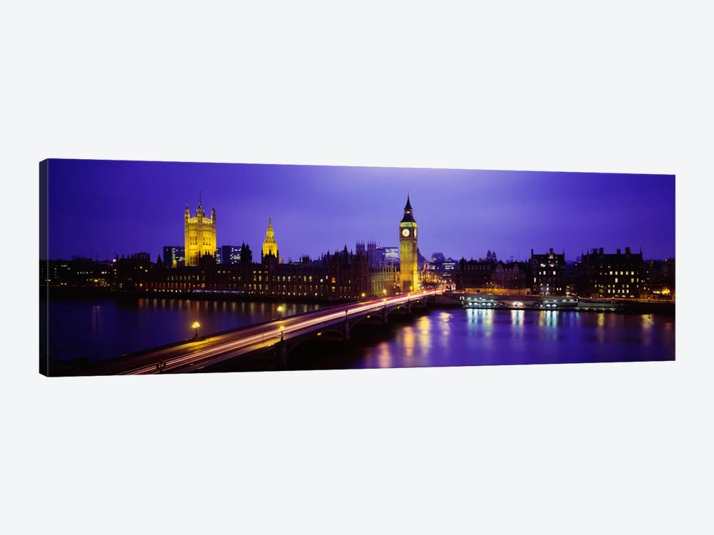 Palace Of Westminster & Westminster Bridge At Night, City Of Westminster,  London, England, United Kingdom by Panoramic Images 1-piece Canvas Wall Art