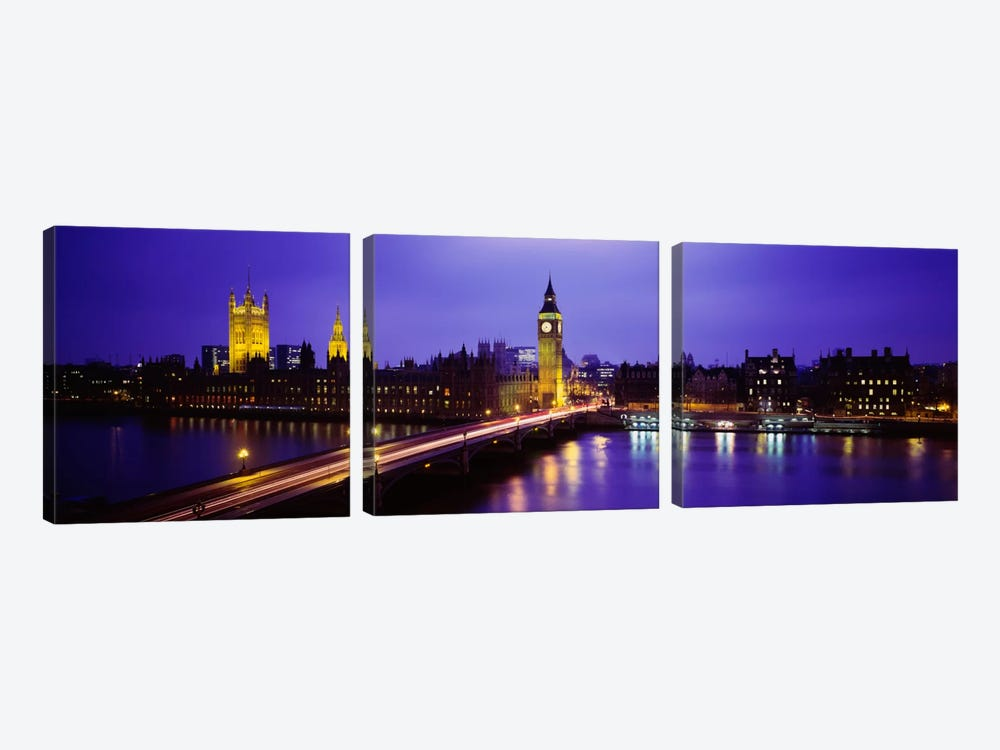 Palace Of Westminster & Westminster Bridge At Night, City Of Westminster,  London, England, United Kingdom by Panoramic Images 3-piece Canvas Wall Art