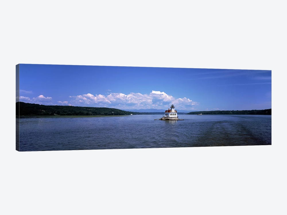 Lighthouse at a river, Esopus Meadows Lighthouse, Hudson River, New York State, USA by Panoramic Images 1-piece Canvas Art