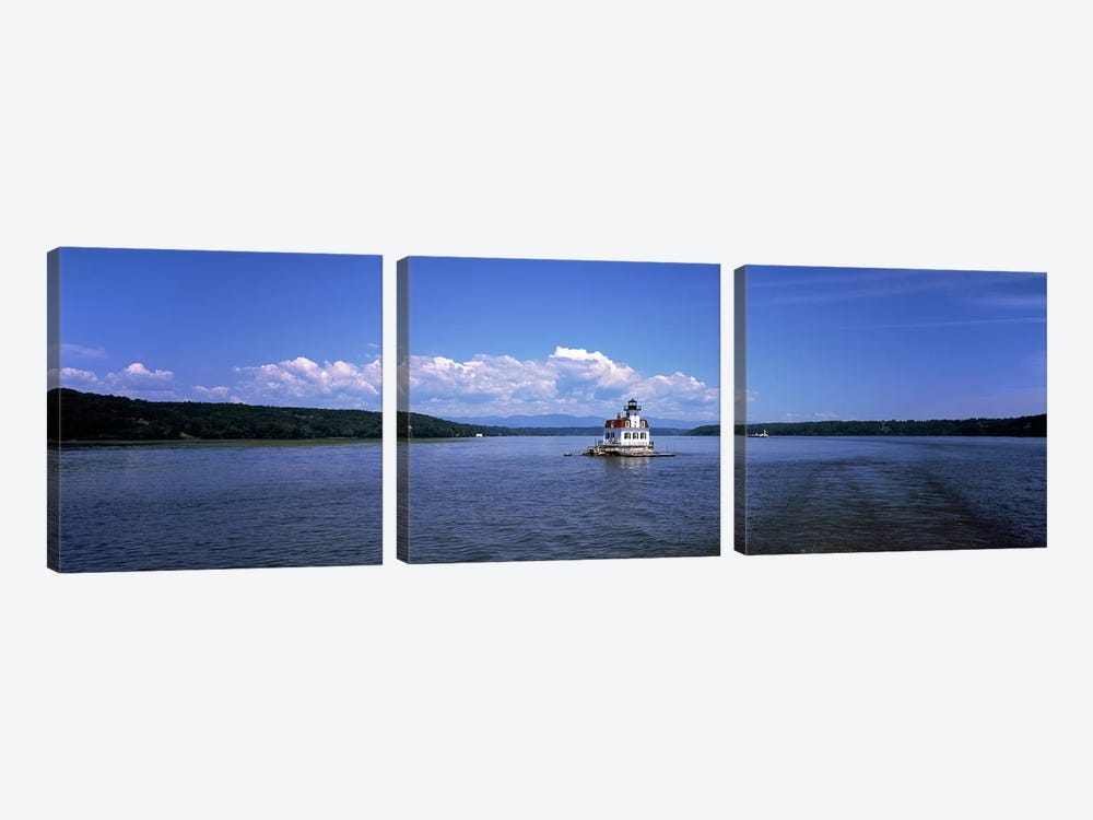 Lighthouse at a river, Esopus Meadows Lighthouse, Hudson River, New York State, USA by Panoramic Images 3-piece Canvas Wall Art