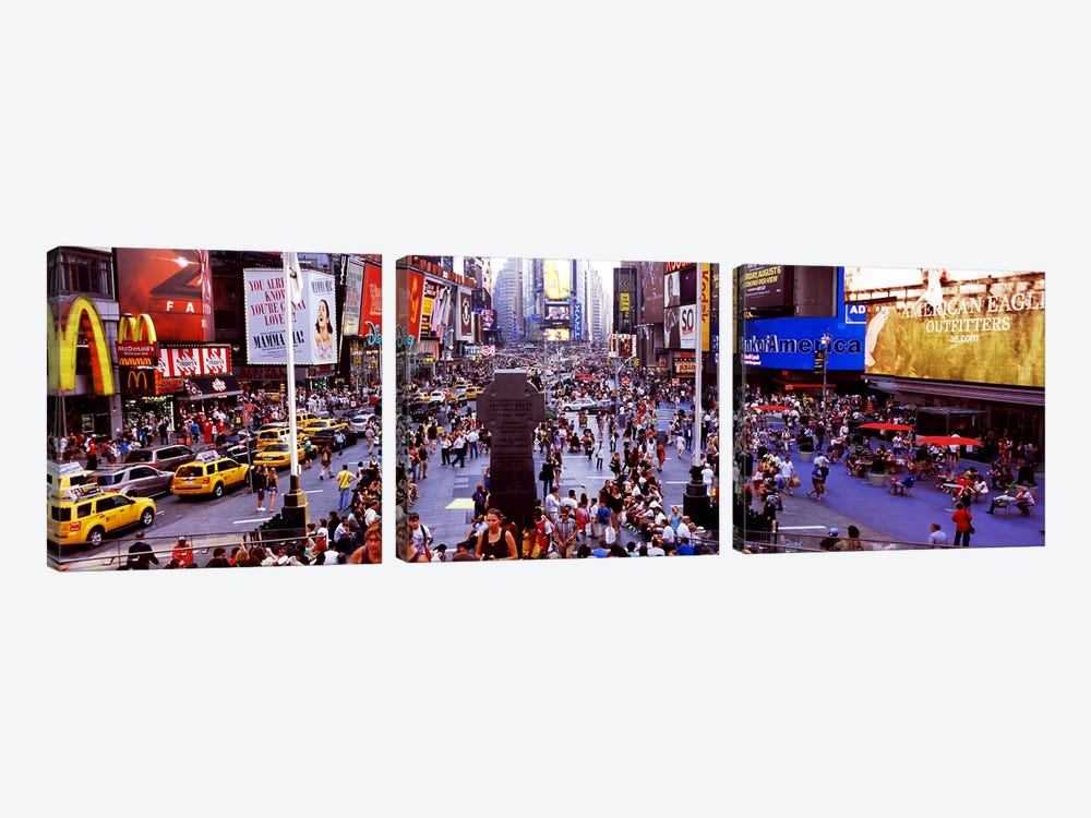 People in a city, Times Square, Manhattan, New York City, New York State, USA by Panoramic Images 3-piece Art Print