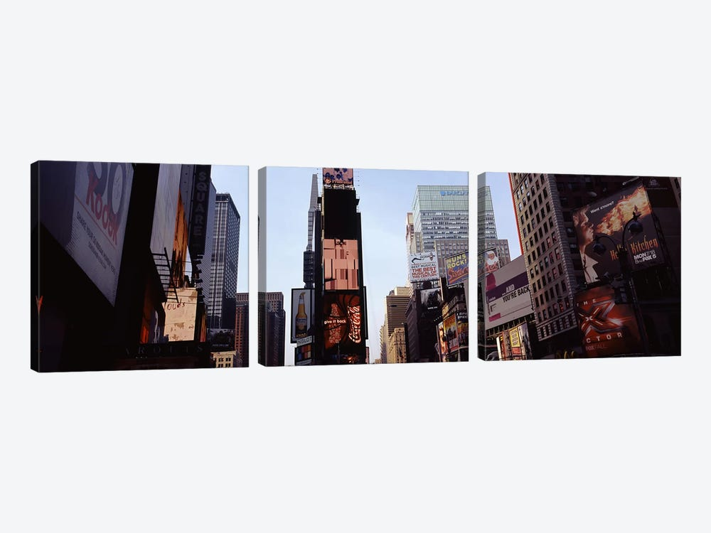 Low angle view of buildings, Times Square, Manhattan, New York City, New York State, USA 2011 by Panoramic Images 3-piece Canvas Artwork
