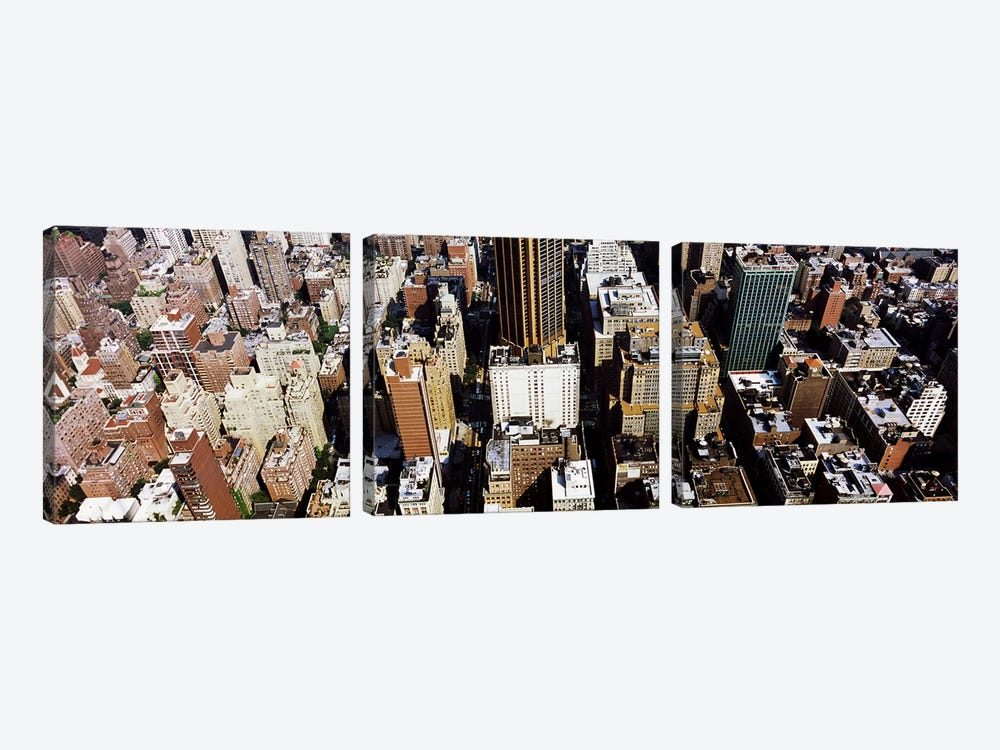 High angle view of buildings in a city, Manhattan, New York City, New York State, USA by Panoramic Images 3-piece Canvas Wall Art