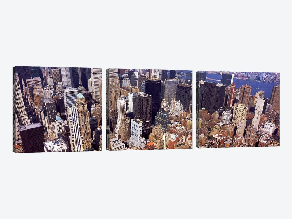 High angle view of buildings in a city, Manhattan, New York City, New York State, USA #2 by Panoramic Images 3-piece Canvas Art