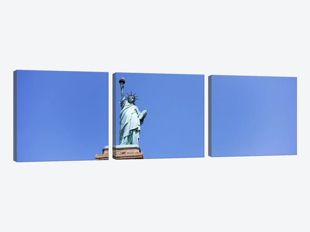 Low angle view of a statue, Statue Of Liberty, Liberty Island, New York City, New York State, USA by Panoramic Images 3-piece Canvas Artwork