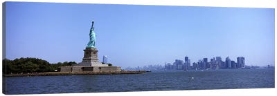 Statue Of Liberty with Manhattan skyline in the background, Liberty Island, New York City, New York State, USA 2011 Canvas Art Print