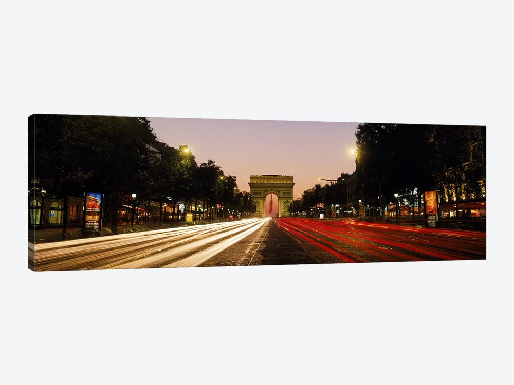 Blurred Motion View Of Nighttime Traffic On Avenue des Champs-Elysees Looking Toward Arc de Triomphe, Paris, France by Panoramic Images 1-piece Canvas Wall Art