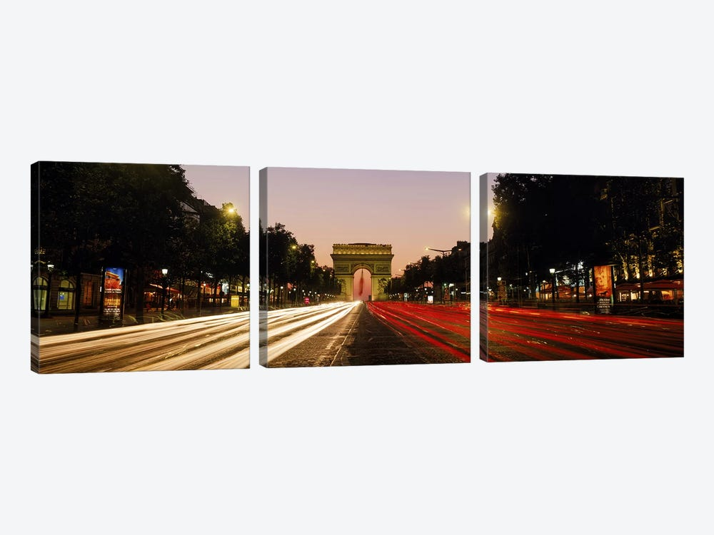 Blurred Motion View Of Nighttime Traffic On Avenue des Champs-Elysees Looking Toward Arc de Triomphe, Paris, France by Panoramic Images 3-piece Canvas Wall Art