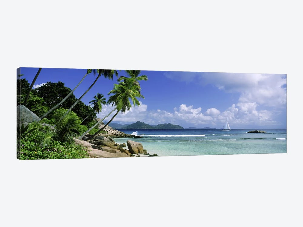 Coastal Landscape With A Distant View Of Praslin Island From Anse Severe Beach, La Digue, Seychelles by Panoramic Images 1-piece Canvas Artwork